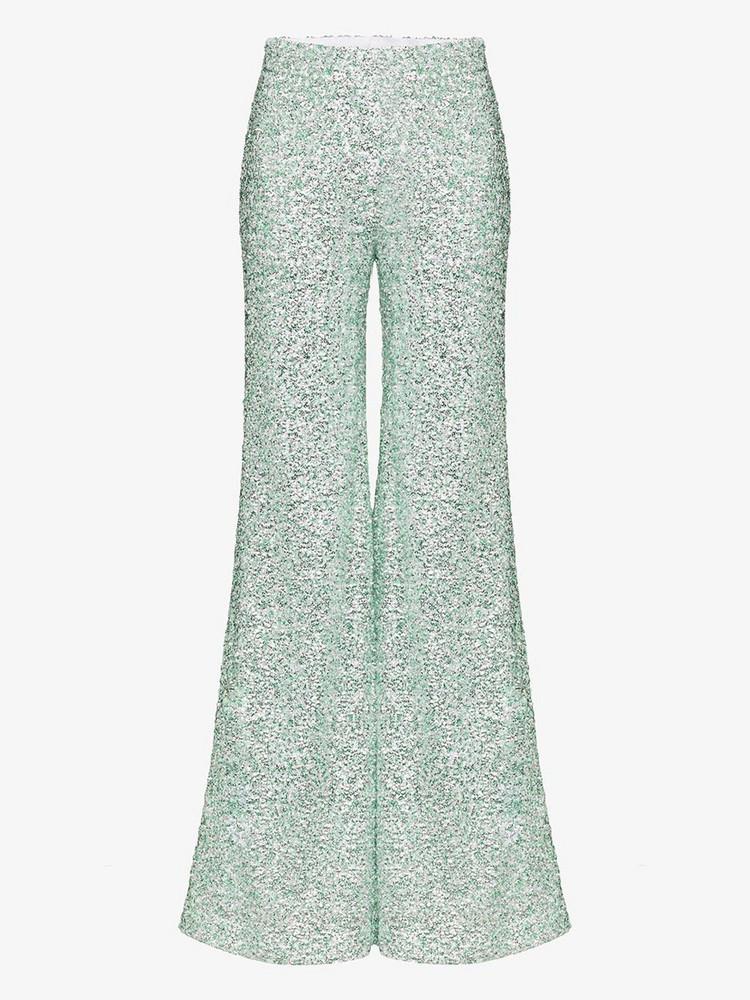 Halpern sequin flared trousers in green