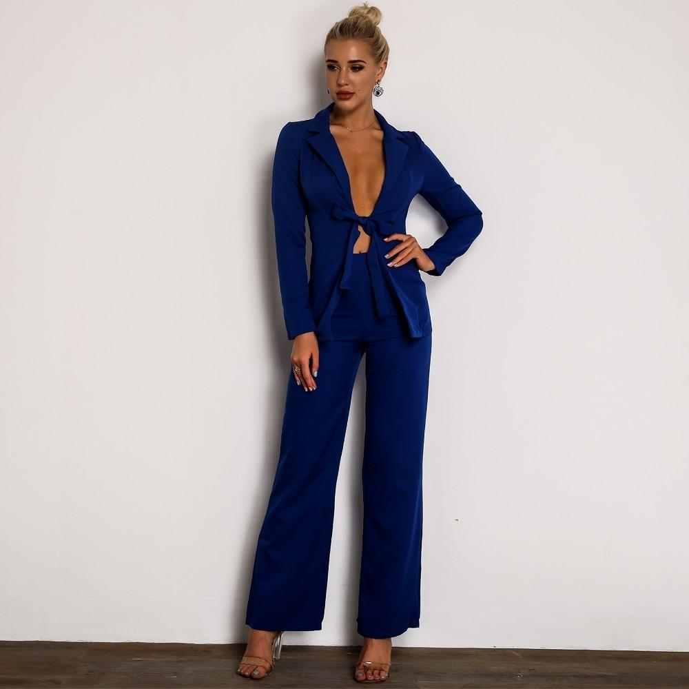 blue blazer and pants co-ord