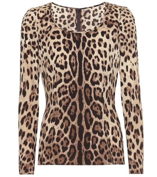 Dolce & Gabbana Leopard-print stretch-silk crêpe top in brown