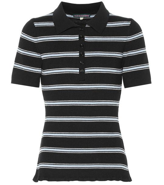 AlexaChung Striped wool shirt in black