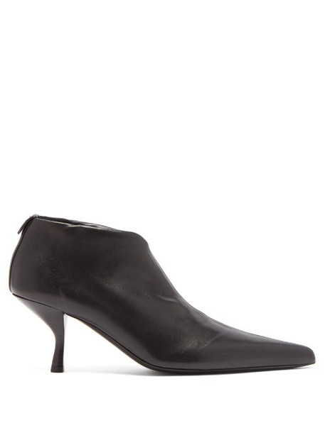 The Row - Bourgeoise Leather Ankle Boots - Womens - Black