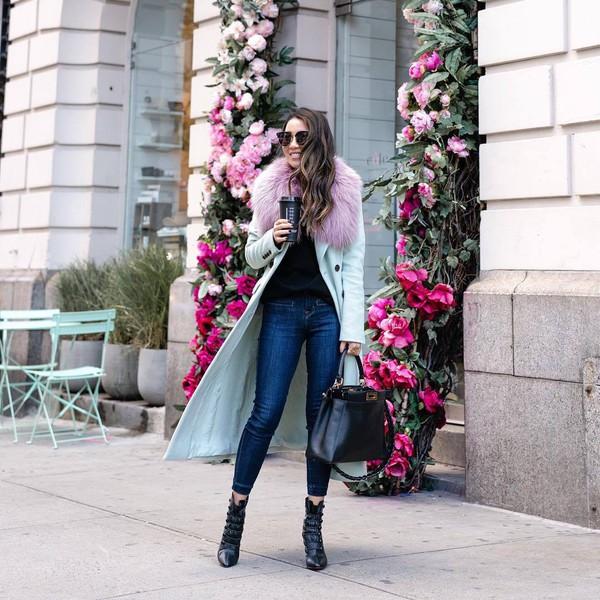 bag leather bag black bag shoulder bag ankle boots heel boots skinny jeans long coat black top