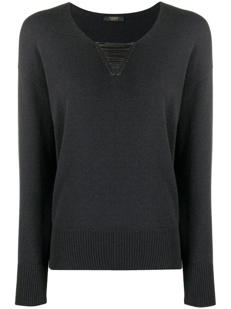 Peserico v-neck jumper with chain detail in grey