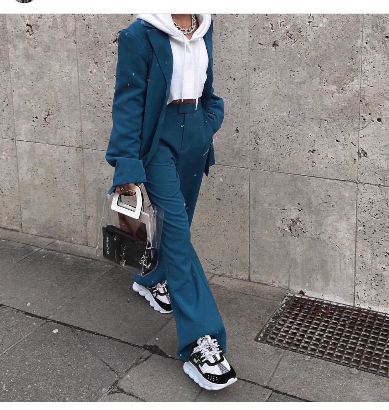 pants blue blazer pants suit