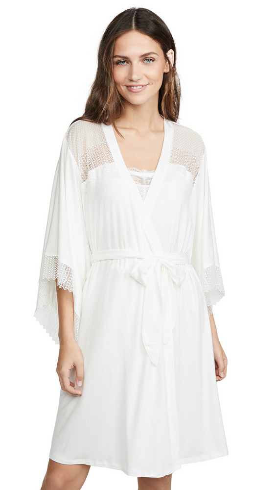 Eberjey Phoebe Inset Kimono Robe in ivory