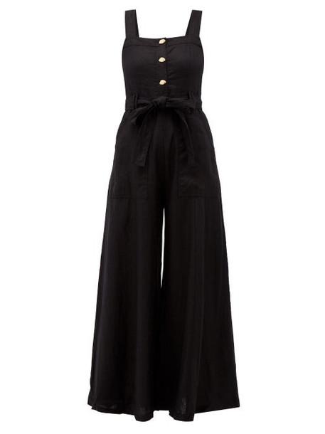 Aje - Sunpointe Wide Leg Linen Jumpsuit - Womens - Black