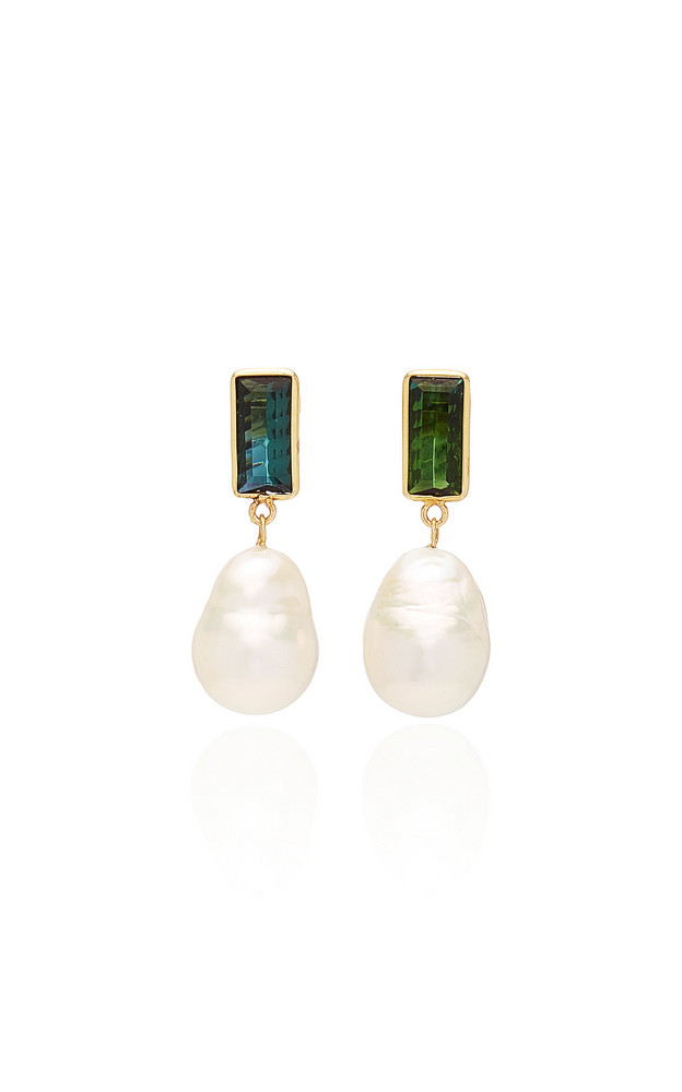 Objet-a Disco 18K Gold, Pearl And Tourmaline Earrings in white