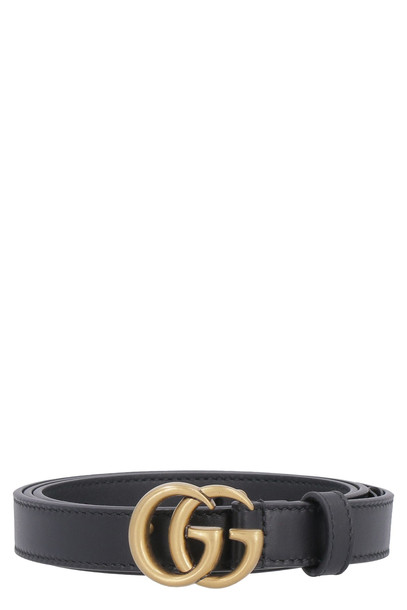 Gucci Leather Belt With Logo Buckle in black