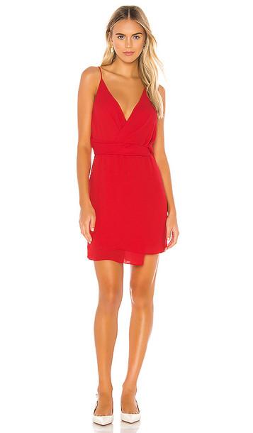 krisa Twist Waist Surplice Mini Dress in Red