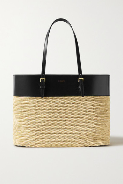 SAINT LAURENT - Leather And Raffia Tote - Neutral