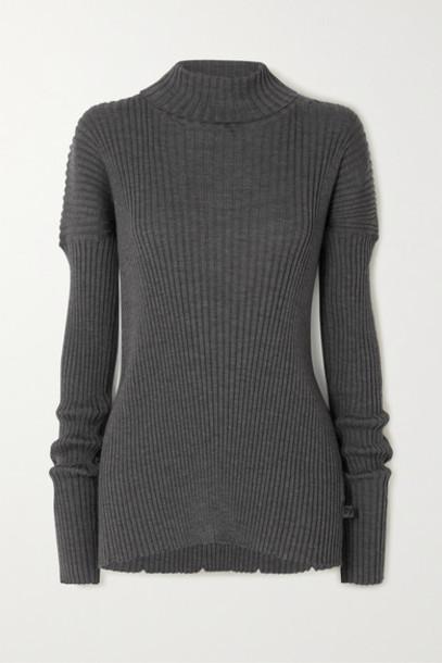 Bottega Veneta - Ribbed Wool Turtleneck Sweater - Gray