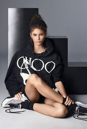 shoes,silver,kaia gerber,model,editorial,sweatshirt