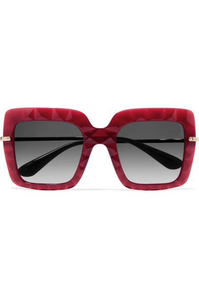 Dolce & Gabbana - Square-frame Acetate And Gold-tone Sunglasses - Red