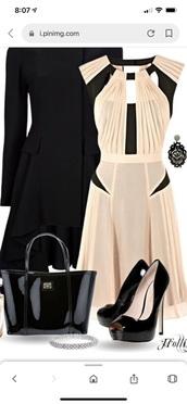 dress,peach and black cocktail vneck dress