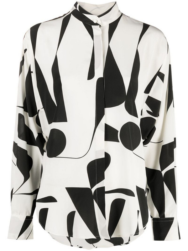 Isabel Marant Cade geometric print blouse in neutrals