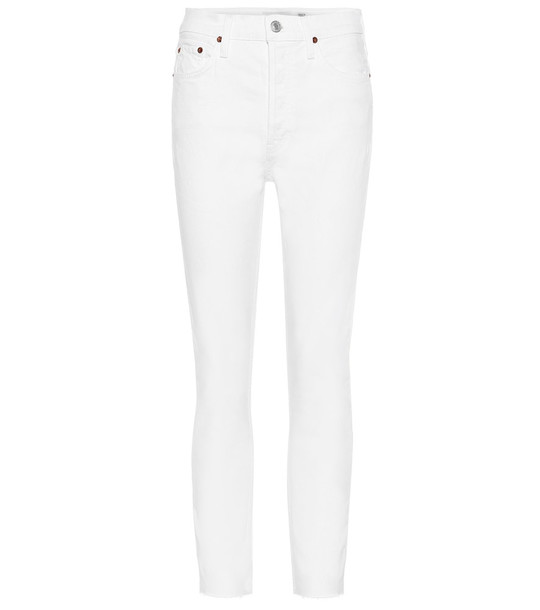 Re/Done High-rise ankle crop skinny jeans in white