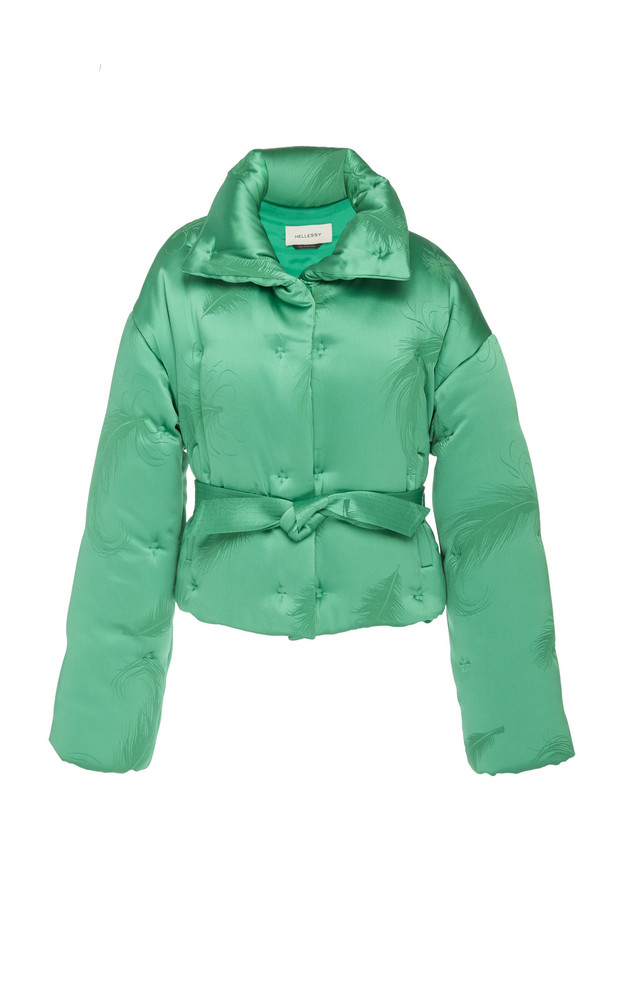 Hellessy Edgar Cropped Jacquard Puffer Jacket in green