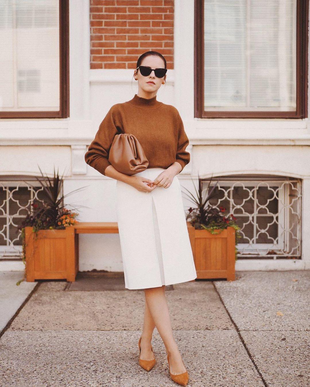 sweater turtleneck sweater h&m pumps white skirt midi skirt brown bag