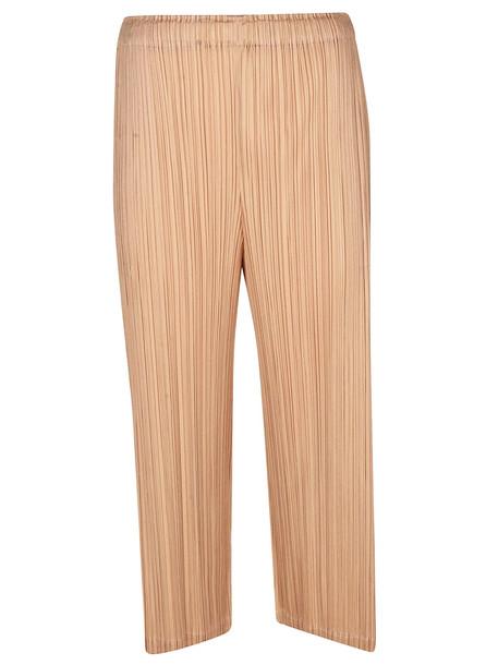 Issey Miyake Pleats Please Crop Pleated Trousers in beige