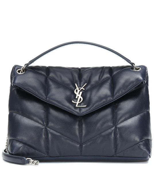 Saint Laurent Loulou Puffer leather shoulder bag in blue