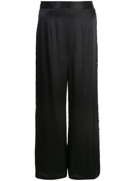 Josie Natori Couture embroidered wide leg trousers in black