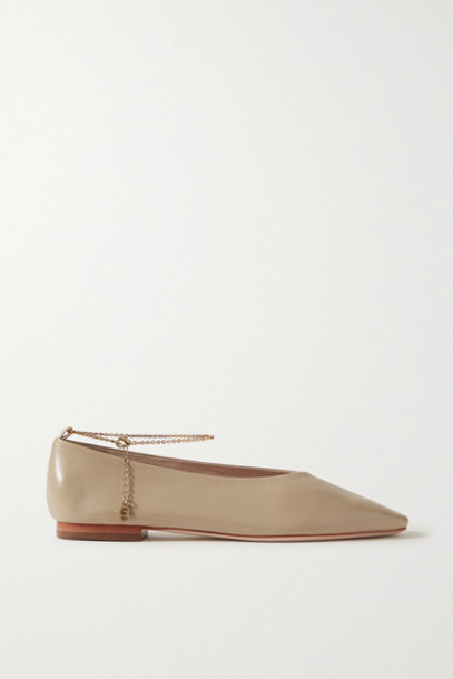 Porte & Paire - Chain-embellished Leather Ballet Flats - Taupe