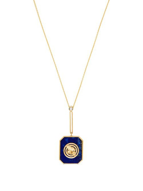 Retrouvai - Lucky Gold, Diamond And Lapis Necklace - Womens - Blue