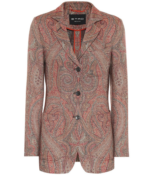Etro Paisley wool and silk jacquard blazer in red