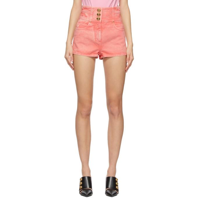 Balmain Pink Denim High-Rise Shorts in rose