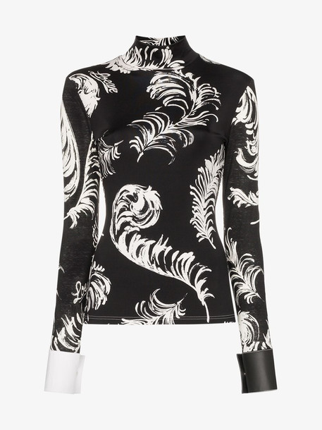 Loewe feather print contrast cuff top