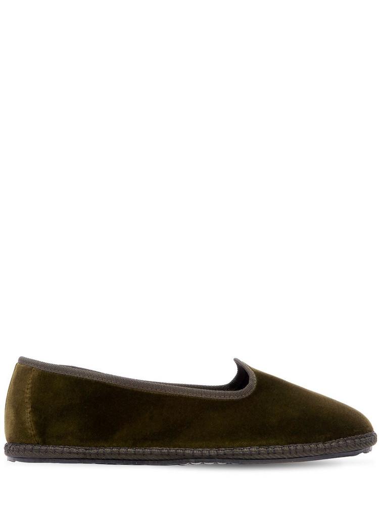 VIBI VENEZIA 10mm Velvet Loafers in green