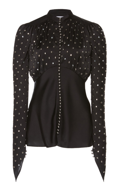 Paco Rabanne Studded Button-Detailed Satin Top Size: 42 in black