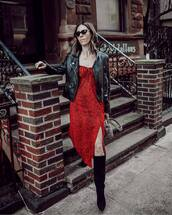 dress,red dress,midi dress,slit dress,long sleeve dress,black boots,knee high boots,black leather jacket,grey bag