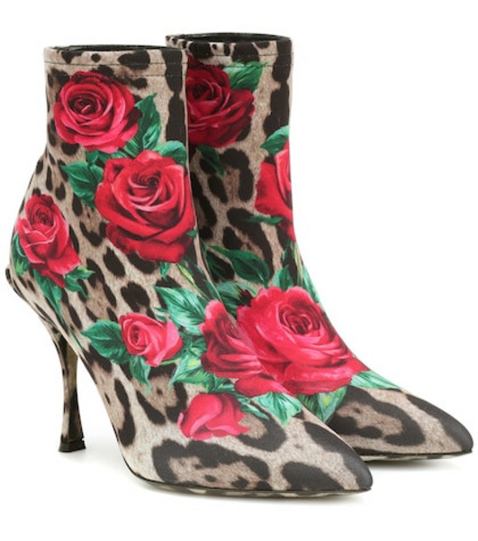 Dolce & Gabbana Lori printed ankle boots in brown
