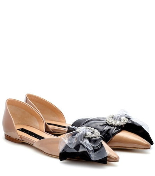 Midnight 00 Embellished ballet flats in brown