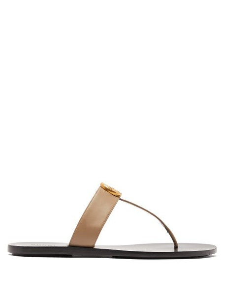 Gucci - Gg Marmont Leather Sandals - Womens - Beige
