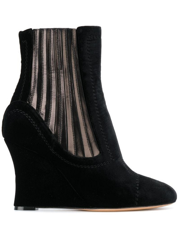 Alchimia Di Ballin metallic panelled wedge ankle boots in black