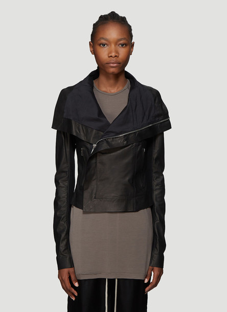 Rick Owens Leather Biker Jacket in Black size IT - 42