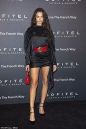 dress,shanina shaik,model off-duty,mini dress,black dress,black,belt,pumps