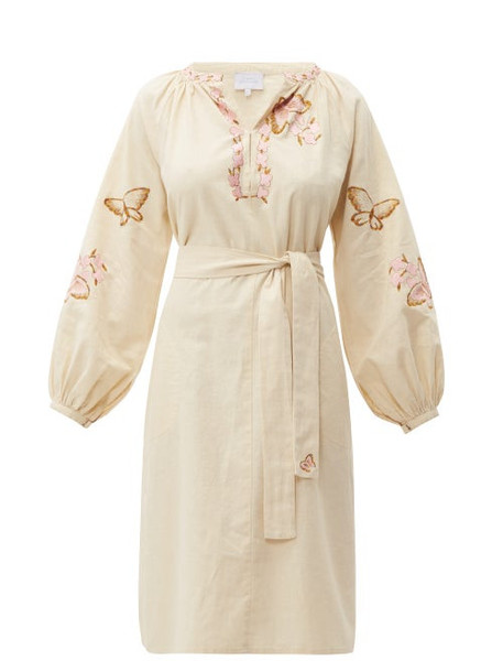 Luisa Beccaria - Butterfly Embroidered Cotton Blend Kaftan - Womens - Cream Multi