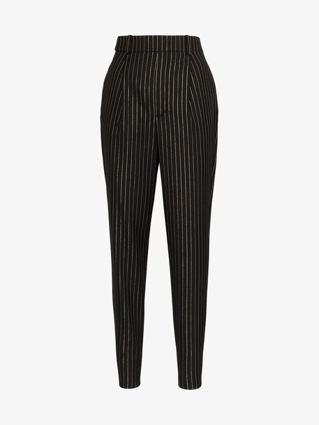 Saint Laurent High-waisted pinstripe pleated trousers in black