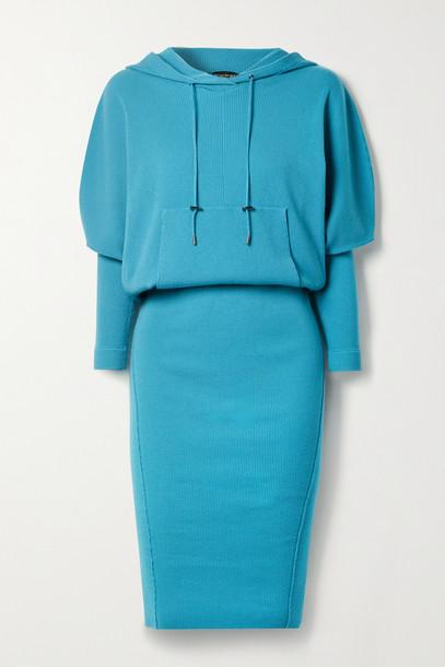 TOM FORD - Hooded Ribbed Cashmere-blend Dress - Blue