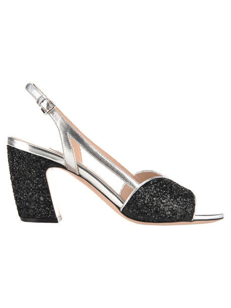 Miu Miu Glitter Sandals in black / silver
