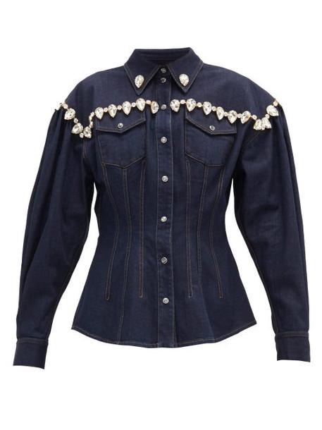 Dolce & Gabbana - Crystal-embellished Denim Jacket - Womens - Denim
