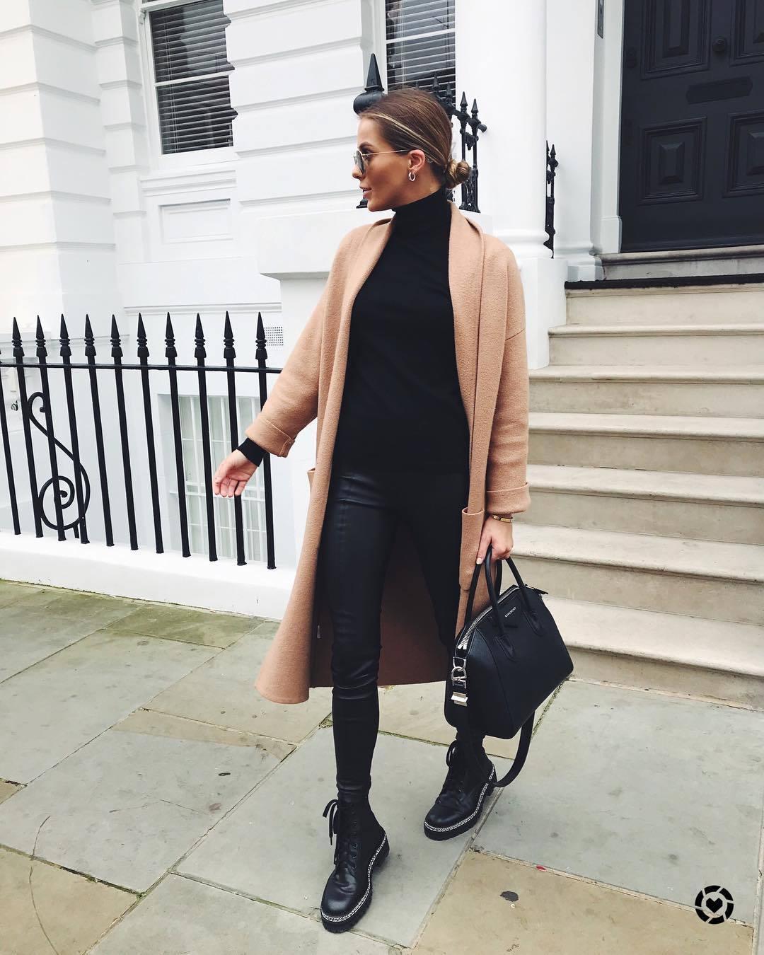 coat long coat pink coat black boots lace up boots black leggings black bag shoulder bag black turtleneck top