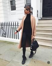 coat,long coat,pink coat,black boots,lace up boots,black leggings,black bag,shoulder bag,black turtleneck top