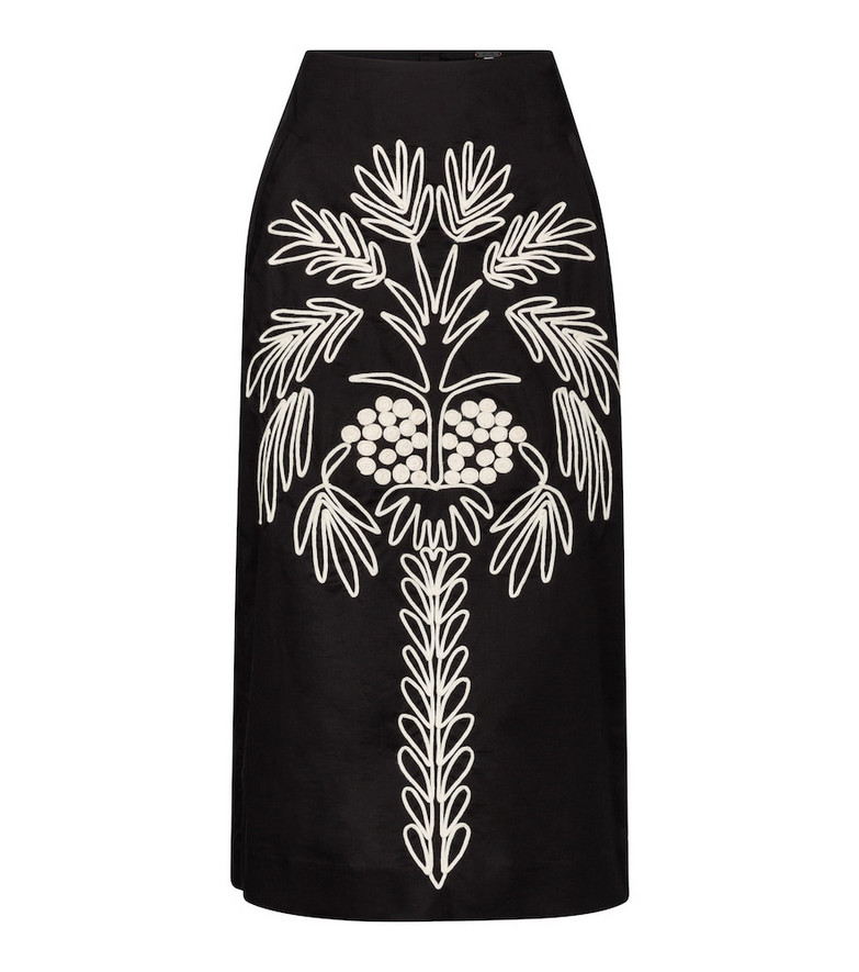 Johanna Ortiz Cave Explorer embroidered midi skirt in black