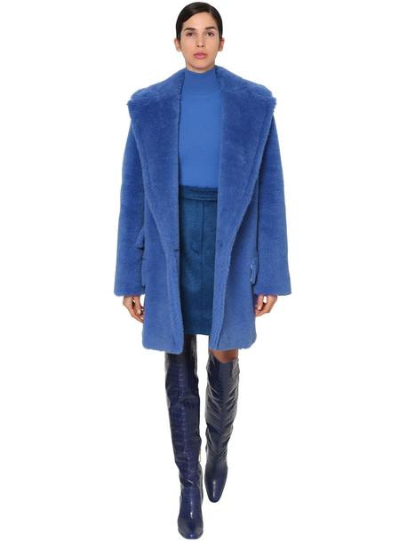 MAX MARA Alpaca & Wool Midi Teddy Coat in blue