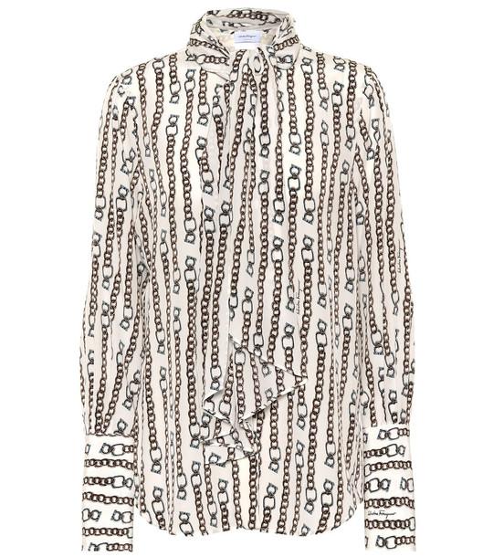 Salvatore Ferragamo Printed silk blouse in white