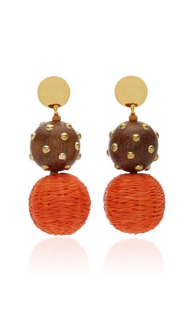 Oscar de la Renta Raffia & Wood Drop Earrings in orange